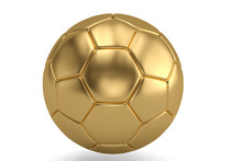 Gold Football Isolated On White Background 3D Illustration.