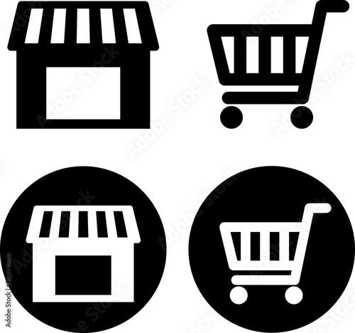 Fotomural 店舗とショッピングカートのアイコン