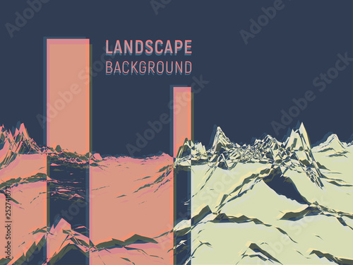 Abstract landscape background. Minimalist style. 3d technology vector illustration