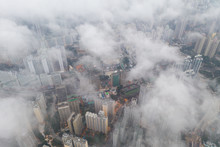 Hong Kong City From Aerial View With Cloud