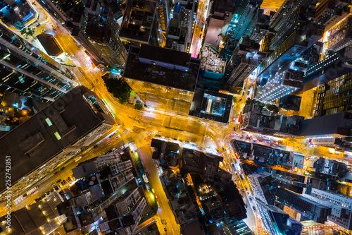 Fototapety, obrazy: Top down view of Hong Kong city at night