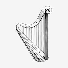 Vintage Harp Illustration