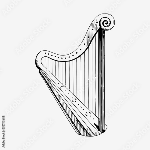 Tablou Canvas Vintage harp illustration