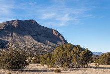 Mountainside And Plain In Rural New Mexico Winter Desert, American Southwest, Horizontal Aspect