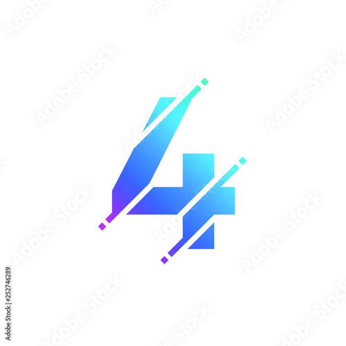 Fényképezés Number 4 Numeric Glitch Modern Alphabet Logo Vector Icon