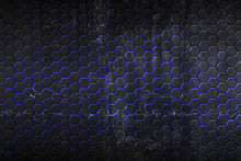 Black And Blue Hexagon Background And Texture.
