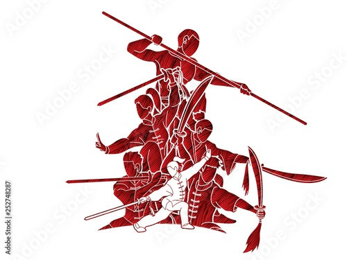 Obraz na plátně Group of People Kung Fu fighter, Martial arts with weapons action cartoon graphic vector