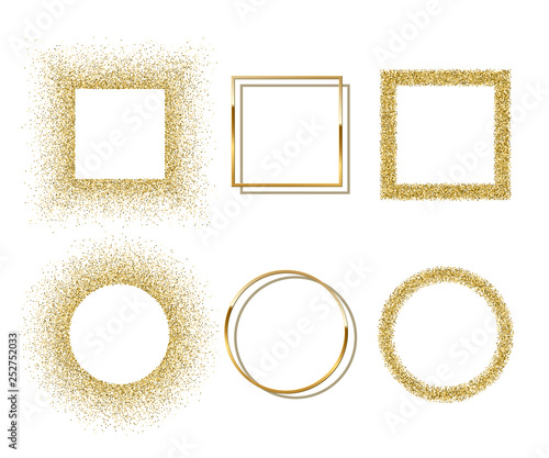 Obraz na plátně Golden shiny round and square frames with shadows isolated on white background