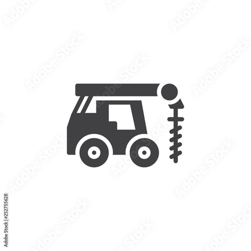 Obraz Driller truck vector icon. filled flat sign for mobile concept and web design. Truck with drill glyph icon. Construction machine symbol, logo illustration. Pixel perfect vector graphics - fototapety do salonu