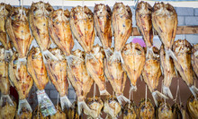 Dried Fish Hang On Wooden Dryi...