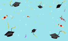 Graduation Hats Fly In Sky Pos...