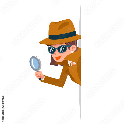 Photo Cute woman snoop detective magnifying glass tec peeking out corner search help n