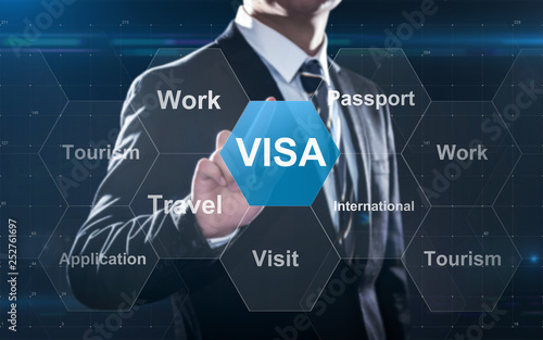 Fototapeta Concept about visa for traveling or working abroad