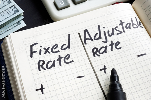 Fototapeta Fixed rate vs adjustable rate mortgage pros and cons. obraz