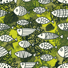 Fish,algae,army,background,camouflage,chic,clothing,coral,cute,doodle,element,endless,fabric,fashion,graphic,green,illusion,illustration,industry,khaki,leaf,material,medusa,militaristic,military,ocean