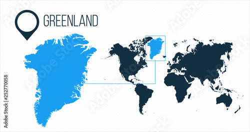 Greenland map located on a world map with flag and map ...