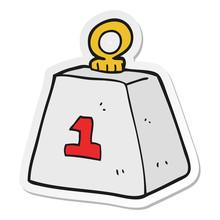 Sticker Of A Cartoon One Ton Weight
