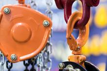 Orange Hook For Industrial Crane ; Equipment Background