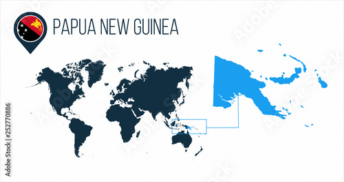 Fototapeta Papua New Guinea map located on a world map with flag and map pointer or pin