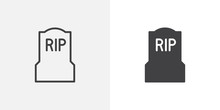 Tomb, Headstone Icon. Line And...
