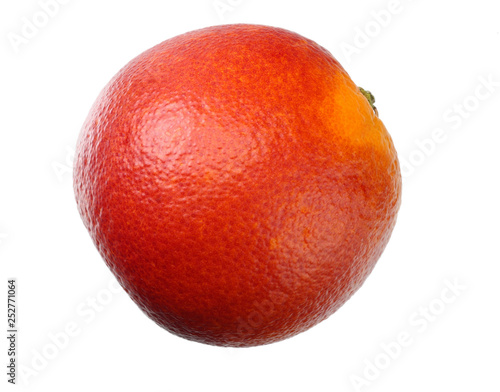 Fotografía  one red blood orange fruit isolated on white background