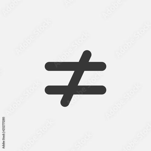 Obraz na plátně not equal to vector icon