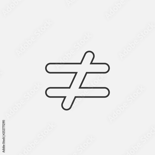 Fototapeta not equal to line icon