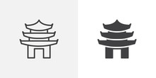 Asian Pagoda Icon. Line And Glyph Version, Outline And Filled Vector Sign. Chinese Temple Linear And Full Pictogram. Symbol, Logo Illustration. Different Style Icons Set