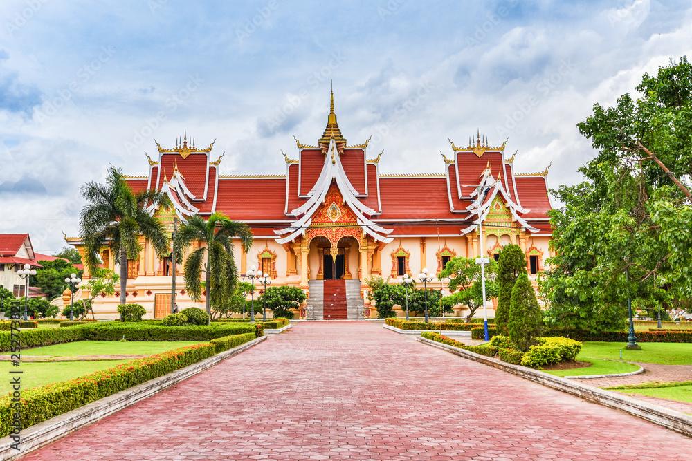 Fototapeta Vientiane Laos : Landmark laos temple beautiful of buddhism in asia