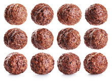 Chocolate Corn Balls Isolated On White Background.
