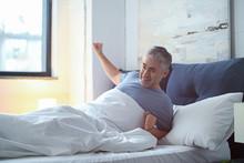 Morning Of Mature Man At Home