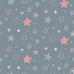 Vector holiday seamless pattern with hand drawn stars. Endless festive background.
