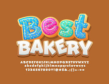 Vector Sweet Logotype Best Bakery With Cookie Font. Gingerbread Icong Alphabet Letters, Numbers And Symbols