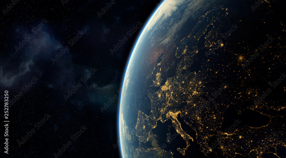 Fototapety, obrazy:  realistic render of the earth seen from space,visible lights of European cities at night.Elements of this image furnished by NASA. 3d rendering