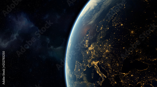 Obraz  realistic render of the earth seen from space,visible lights of European cities at night.Elements of this image furnished by NASA. 3d rendering - fototapety do salonu