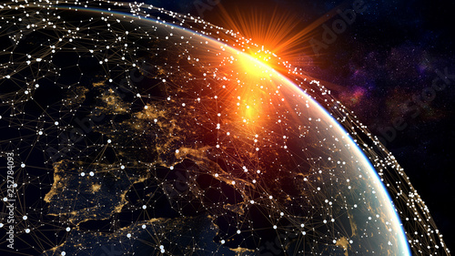 Photo sur Toile Amsterdam Network and data exchange over planet earth in space .3D rendering .Elements of this image furnished by NASA.