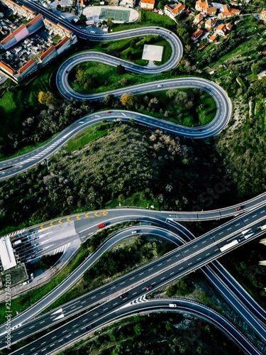 Aerial view of highway, expressway and motorway with a toll payment point in Ita Fototapet