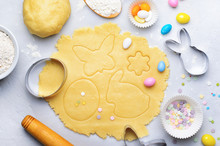 Making Of Easter Cookies, Baking Background, Dough, Cookie Cutters, Sugar Sprinkles