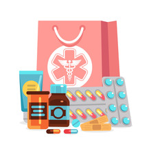 Vector Pharmacy Elements, Pills, Vitamins, Bottles With Medical Bag Illustration. Medical Drug, Medicine Vitamin, Pharmacy Medication