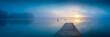 canvas print picture - Sonnenaufgang am See mit Steg und Nebel - Panorama