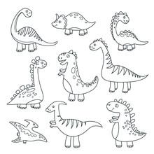Outline Dinosaurs. Cute Baby Dino Funny Monsters Jurassic Wildlife Animals Dragon Funny Dinosaurs Vector Hand Drawn Isolated Set. Illustration Of Predator Creature, Stegosaurus Dino