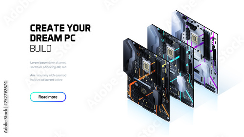 Fotografía  Gaming PC motherboard isometric illustration, custom computer components for wor