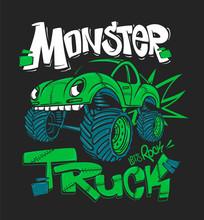 Monster Truck. Vector Illustration For T-shirt Prints