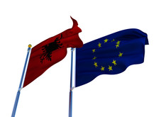 Albania Flag EU Flag Isolated Silk Waving Flags Republic Of Albania With Black Eagle Emblem On Red  And European Union With A Flagpole On A White Background 3D Illustration