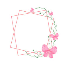 Frame With Watercolor Pink And Blue Butterflies