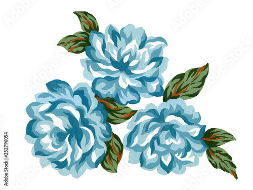 Watercolor gouache flower blue rose bouquet green leaves Colorful concept arrang Fototapet