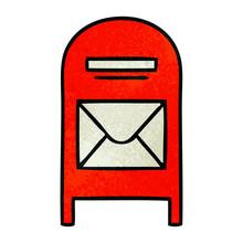 Retro Grunge Texture Cartoon Mail Box