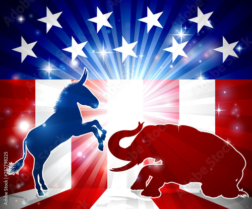 Fotomural An elephant and donkey in silhouette facing off with an American flag in the bac