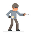 Picklock housebreaker thieves keys flashlight hand sneak evil greedily thief cartoon rogue bulgar character flat design isolated vector illustration