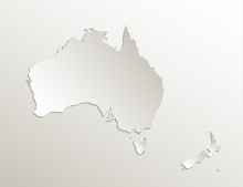 Australia Continent Map New Zealand, Natural Paper 3D Card Blank Vector